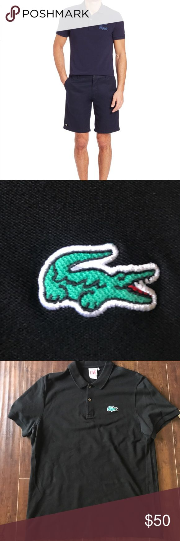 BLACK Lacoste L!VE Polo sz 6/XL Purchased at South Coast mall. Smoke free home. 💯 authentic. Emblem is slightly different than model pic as model pic is for the pique line made exclusively for Saks. Lacoste Shirts Polos