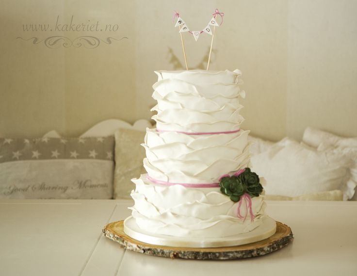 Wedding cake with ruffles rustic