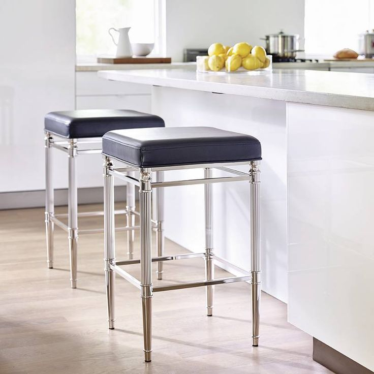 The Bradenton Barstool marries a streamlined design with a touch of traditional. Crafted of tubular steel, this sleek barstool has contemporary,    nickel-plated finish with classically reeded legs.            Generously sized seat                Covered in supple top-grain leather                Nonmarring floor glides protect floors