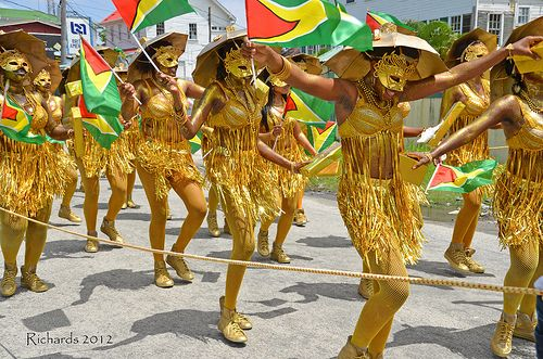 Guyana people wearing matching clothe for traditional.