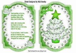 Lovely bracket card front of christmas tree in green on lace with insert on Craftsuprint - View Now!