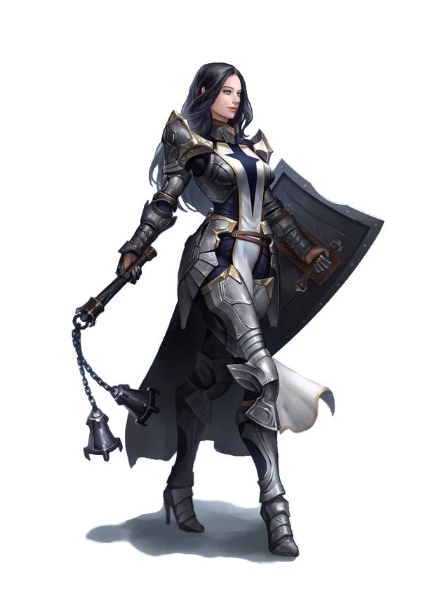 Female Human Flail Fighter - Pathfinder PFRPG DND D&D d20 fantasy