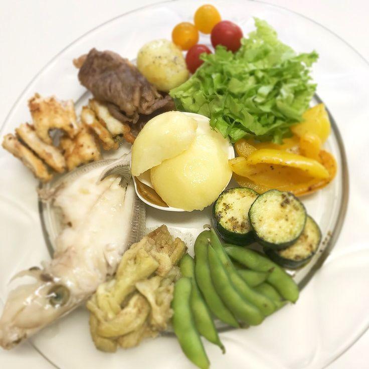 """Dr. Yumi Nishiyama's """"The Original Diet Plate"""" for beauty & health from japanese doctor‼️  Clockwise eating healthy foods from 12 o'clock on a large plate❣️  2017年7月4日の「ドクターにしやま由美式時計回り食べダイエットプレート」:女性医師が栄養バランスを考えた、美味しいプレートのご紹介。  大きめのプレートに、血糖値を急激に上げないように考えた食材を並べ、12時の位置から順番に食べるとても分かり易い方法です。  血糖値を上げないこの食べ方は、身体に優しく栄養補給ができるので健康を維持できます。オリジナルの⭐️西山酵素⭐️も最後に飲みます。  にしやま由美東京銀座クリニック 東京都中央区銀座2-8-17 ハビウル銀座Ⅱ 9階 Tel.03-6228-7950"""
