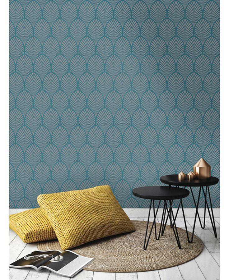 Gatsby Art Deco Wallpaper Teal Holden Decor 65253