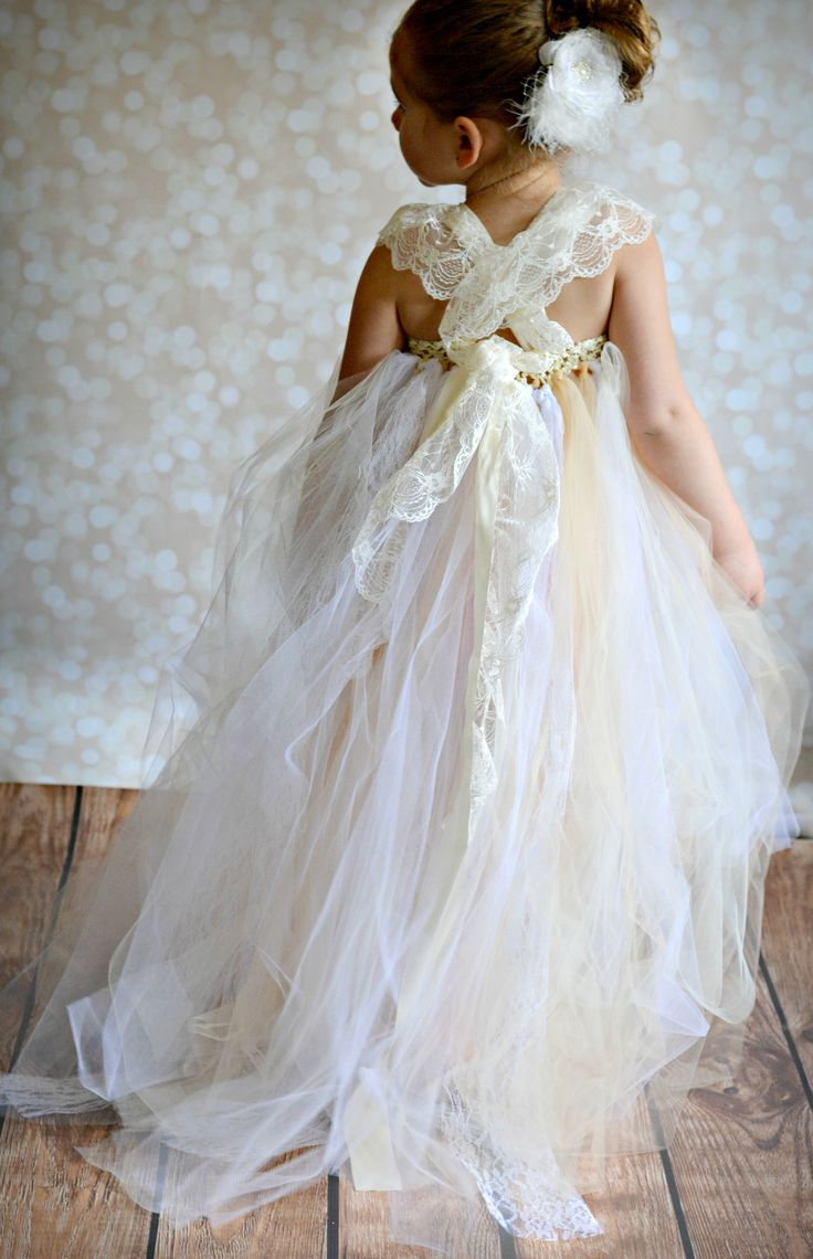 Flower girl tutu dress, shabby chic with lace and satin straps by TUTU Maria.