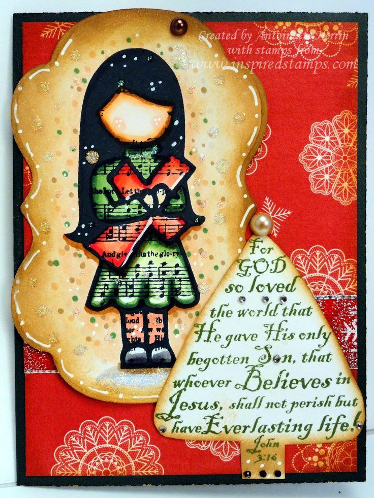 inspiredstamps.blogspot.com, christmas card set of 3, copic coloring, vintage christmas stamp set, hymn girls stamp set