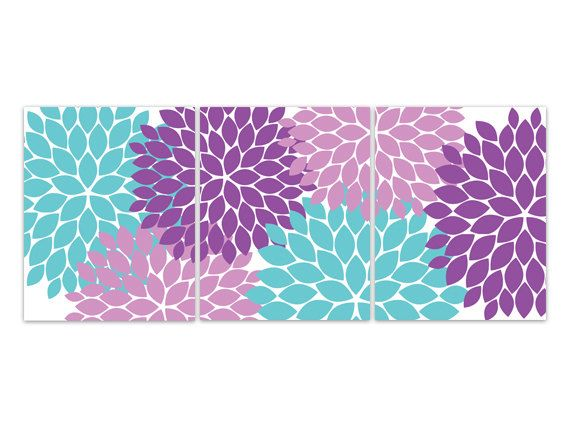 Home Decor Canvas Aqua And Purple Flower Burst Art Bathroom Wall Decor Aqua Bedroom Decor Teal And Purple Nursery Wall Art Home94