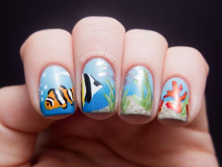 Chalkboard Nails: Ocean Scene Nail Art: Nails Art, Art Blog, Chalkboards Nails, Nails Design, Nailart, Butter London, Fish Tanks, Ocean Scene, Scene Nails