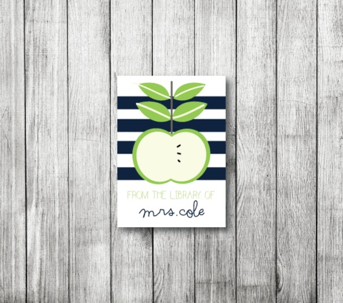An Apple for the Teacher Bookplates.  Lots of cute designs over at Stone Mountain Press.  Only $6.00 for 20.  Would make a great gift for Teacher Appreciation Week.