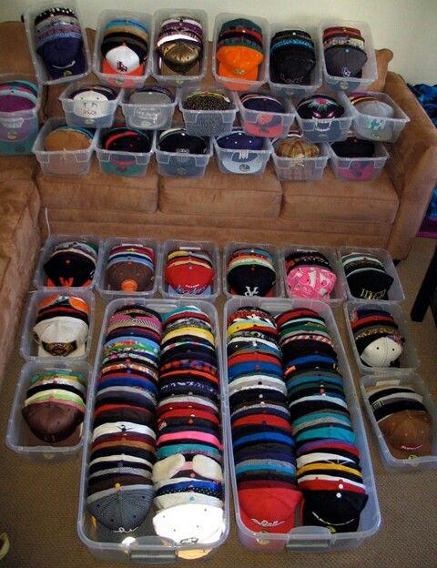 Baseball hat storage...