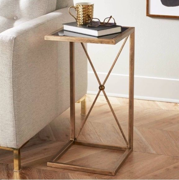 Metal Side Table Small Vintage Glass Top Coffee Tables Antique Gold Furniture End Tables Gold Furniture Furniture