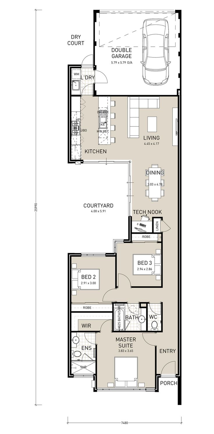 The 25 best ideas about narrow house plans on pinterest narrow lot house plans shotgun house - Narrow house plan paint ...