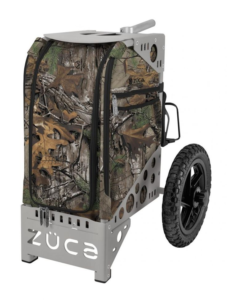 The All Terrain Realtree Bag for disc golf includes a sturdy patented frame that doubles as a portable seat rated to safely support up to 300 pounds. The removable ZUCA Realtree Insert bag is made from premium water-resistant polyester and is hand washable. Go off road in all seasons with performance tires that keep on rolling over rocks, sand, snow and rough terrain.