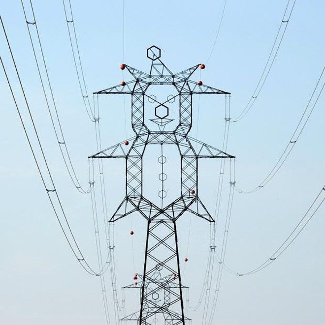 Best Pylons Images On Pinterest Drawings High Tension And - Architects turn icelands electricity pylons into giant human statues