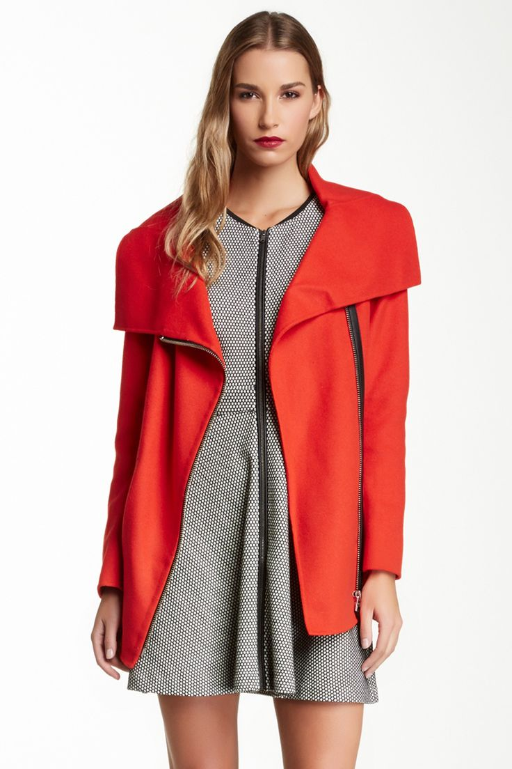 Elia Asymmetrical Zip Wool Blend Coat by Mackage on @HauteLook