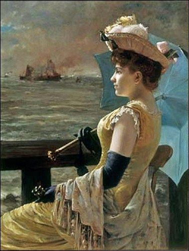 Alfred Stevens (Belgian 1823–1906) [Academicism, Portraiture] A Lady with a Parasol Looking Out to Sea.