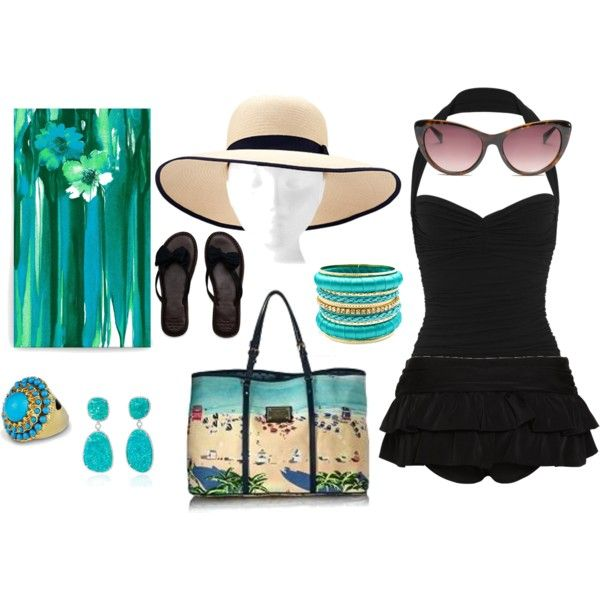 Turquois pool party outfit, created by vickiefeitl
