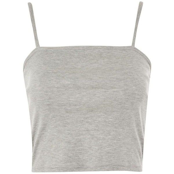 Topshop Cropped Vest Top ($5.28) ❤ liked on Polyvore featuring tops, grey marl, spaghetti strap tank top, cotton tank tops, crop top, grey top and cotton tank