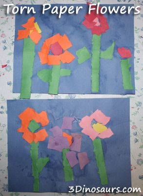 Torn paper flowers, using paint brush to put glue on the page. 3Dinosaurs.com