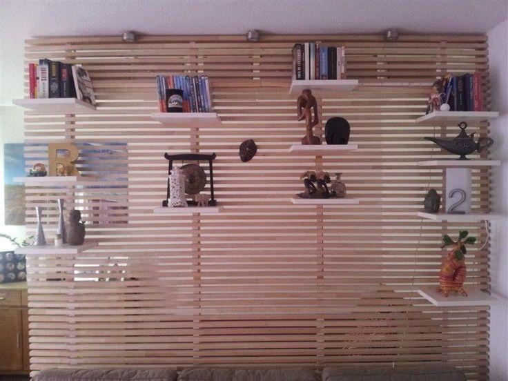 tête lit Ikea Mandal transformée semi-cloison étagères rangement