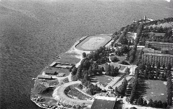 Ilmakuva Eteläpuistosta ja Speedway-radasta 1958