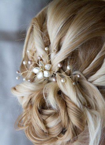 Rhinestone perla vid flores pelo novia Pin boda por Element4you