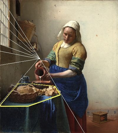 The Milkmaid (diagram), Johannes Vermeer From The Essential Vermeer good info on process and materials