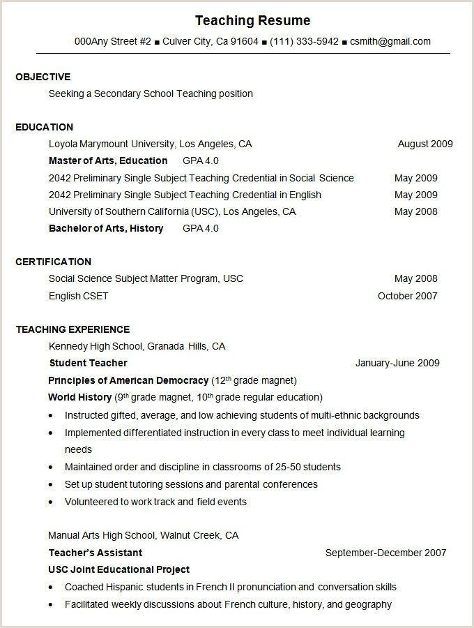 fresher resume format for teaching