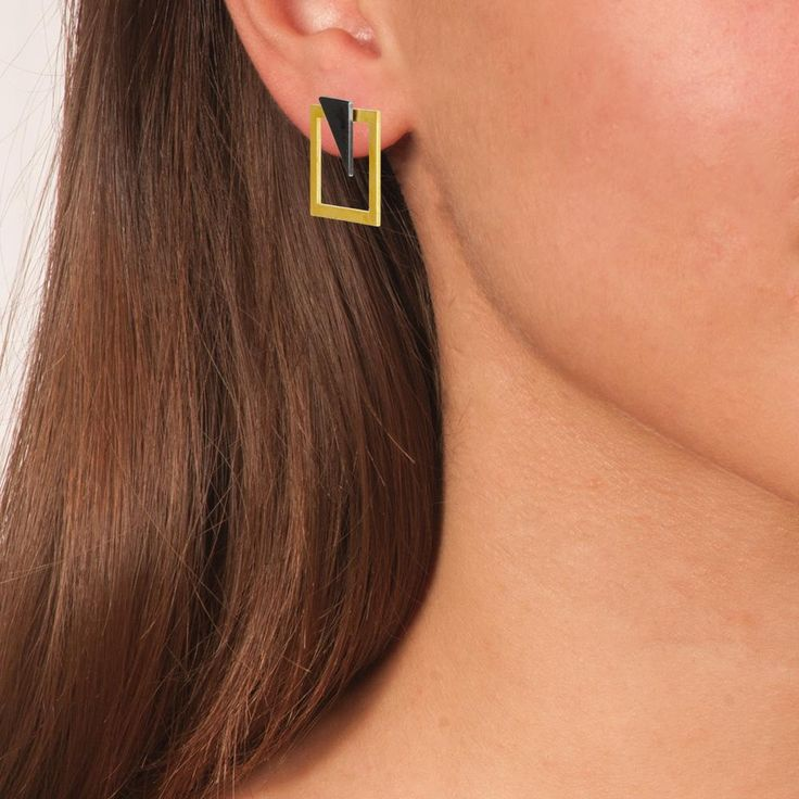 Gold & Black Plated Bronze Geometric Stud Earrings 3 in 1 - Anthos Crafts