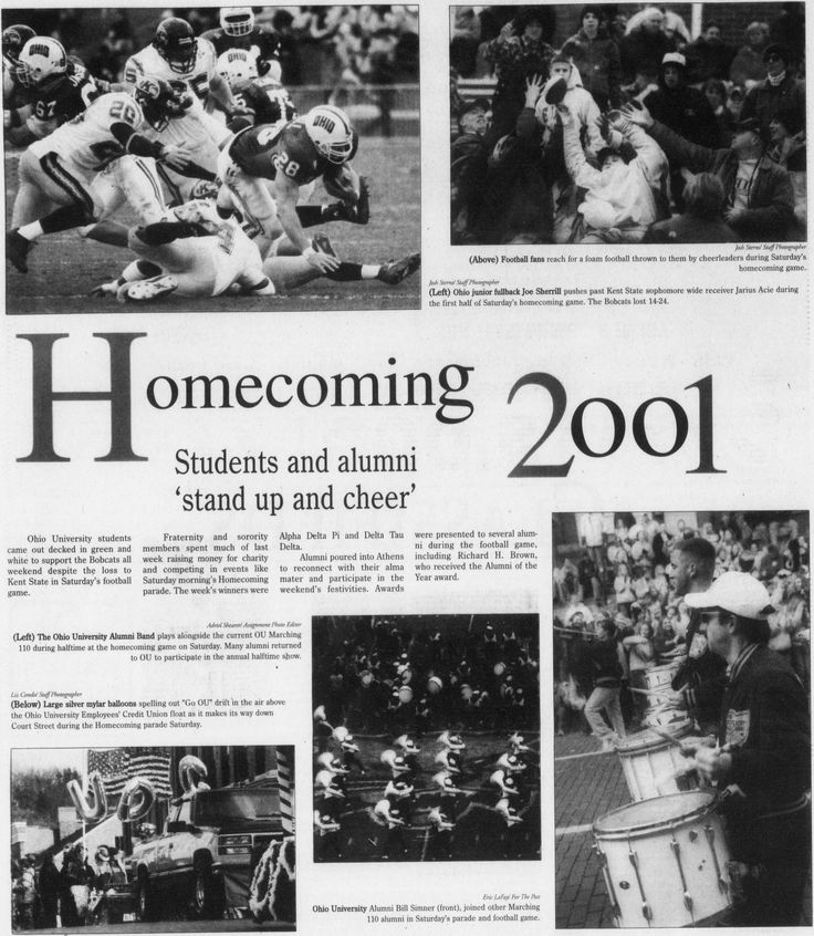 """Post (Athens, Ohio) October 29 2001, page 8: """"Homecoming Students and alumni 'stand up and cheer' 2001."""" """"Ohio University students came out decked in green and white to support the Bobcats all weekend despite the loss to Kent State in Saturday's football game."""" :: Ohio University Archives"""