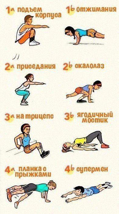 30-минутная домашняя тренировка, направленная на жиросжигание 👊 Выполни 15-20 раз каждое упражнение, 3-4 круга.