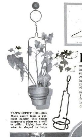 Wire hanger crafts from the past. Vintage flower pot holder diy