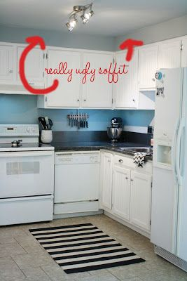 Take out soffit in kitchen, add cabinets above or just ...