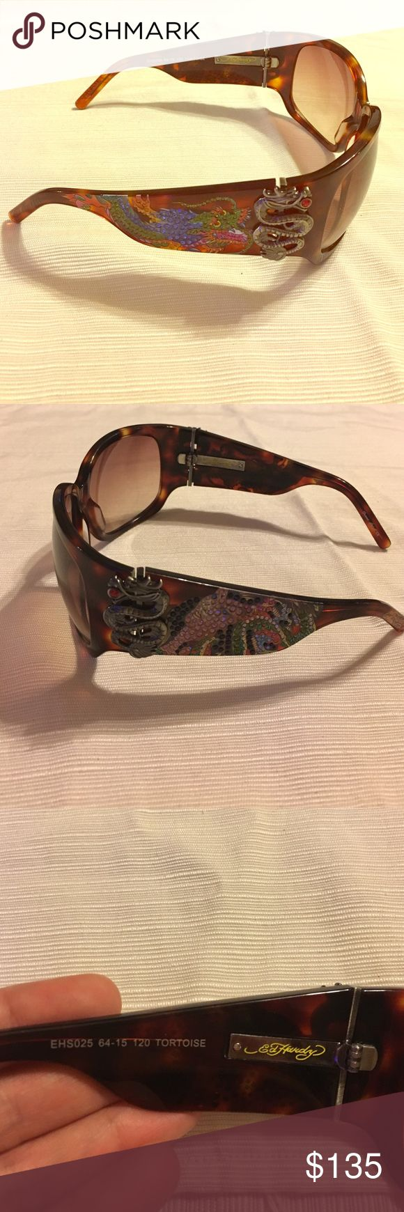 Original Ed Hardy Geisha/Dragon sunglasses Ed Hardy Geisha/Dragon sunglasses with Swarovski crystals. 2 stones are missing in the Geisha side and is not noticeable. Does NOT come with a case thats why the price is soooo reasonable. Ed Hardy Accessories Glasses