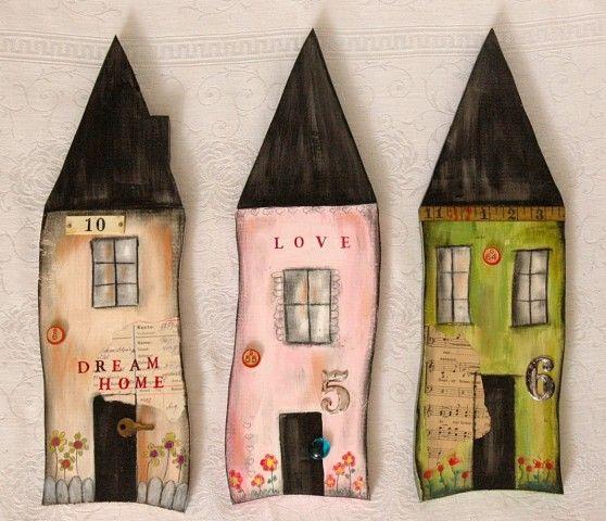 Pintado a Primitive Folk Art Wood House mano w / porción nostalgiccorner