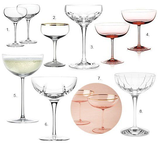 8 Elegant Champagne Coupe Glasses — Product Roundup. My favorite: #5 (Crate and Barrel) - which are the cheapest, too! Yay, me!