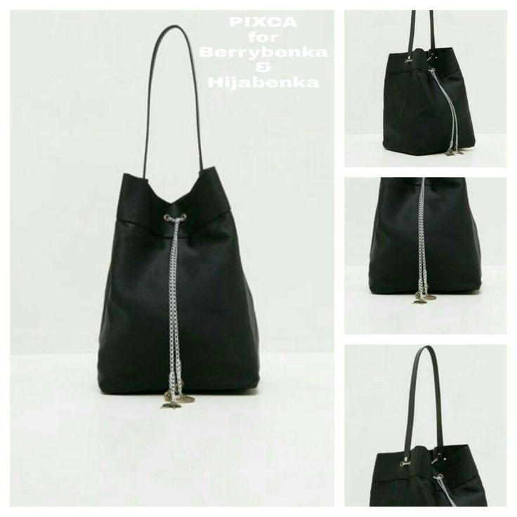PIXCA black jean bucket bag