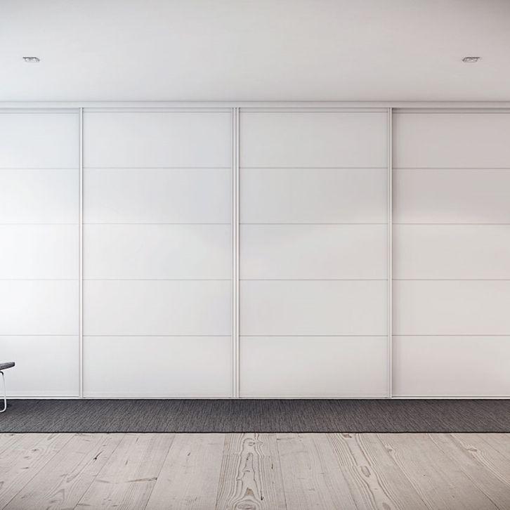 Skjutdörrar garderob -  Vit garderob - Trimline rand vit