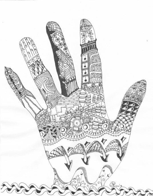 Mehndi Zentangle : My zentangled hand made by karin van den berg zentangle
