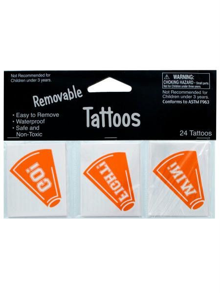 Removable Orange Cheer Tattoos (Available in a pack of 24)