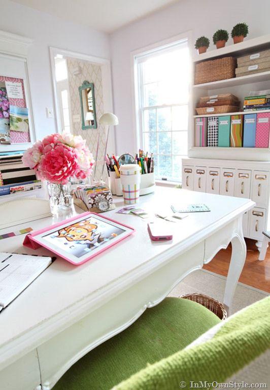 Home Office-decorating desk ideas {InMyOwnStyle.com} #office #desks #white