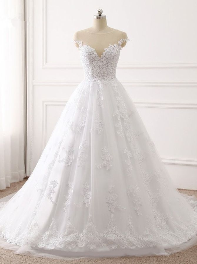 A-line Marriage ceremony Gown with Cap Sleeves,Lace Bridal Gown,11692