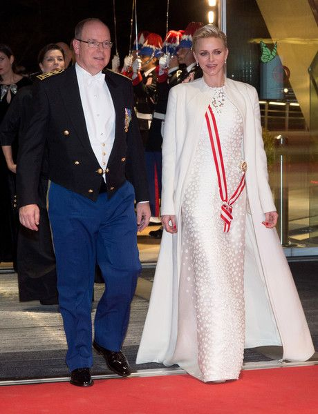 Prince Albert II of Monaco and Princess Charlene of Monaco arrive at a Gala during the Monaco National Day on November 19, 2016 in Monaco, Monaco.