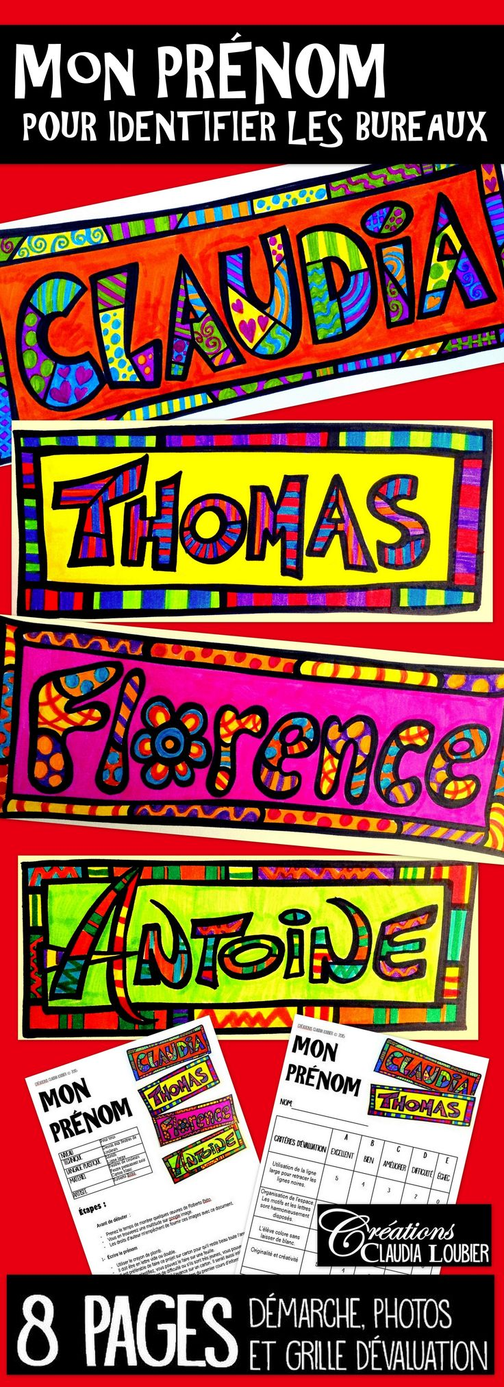 Débuter votre année artistiquement avec cette activité amusante et enrichissante. Voici un projet d'arts plastiques pour l'identification des bureaux, par vos élèves. Avec ce projet, chaque élève est amené à créer son prénom à la manière de Roberto Brito. Vous trouverez aussi une feuille d'exercice pour travailler les motifs, gratuitement sur ma boutique.