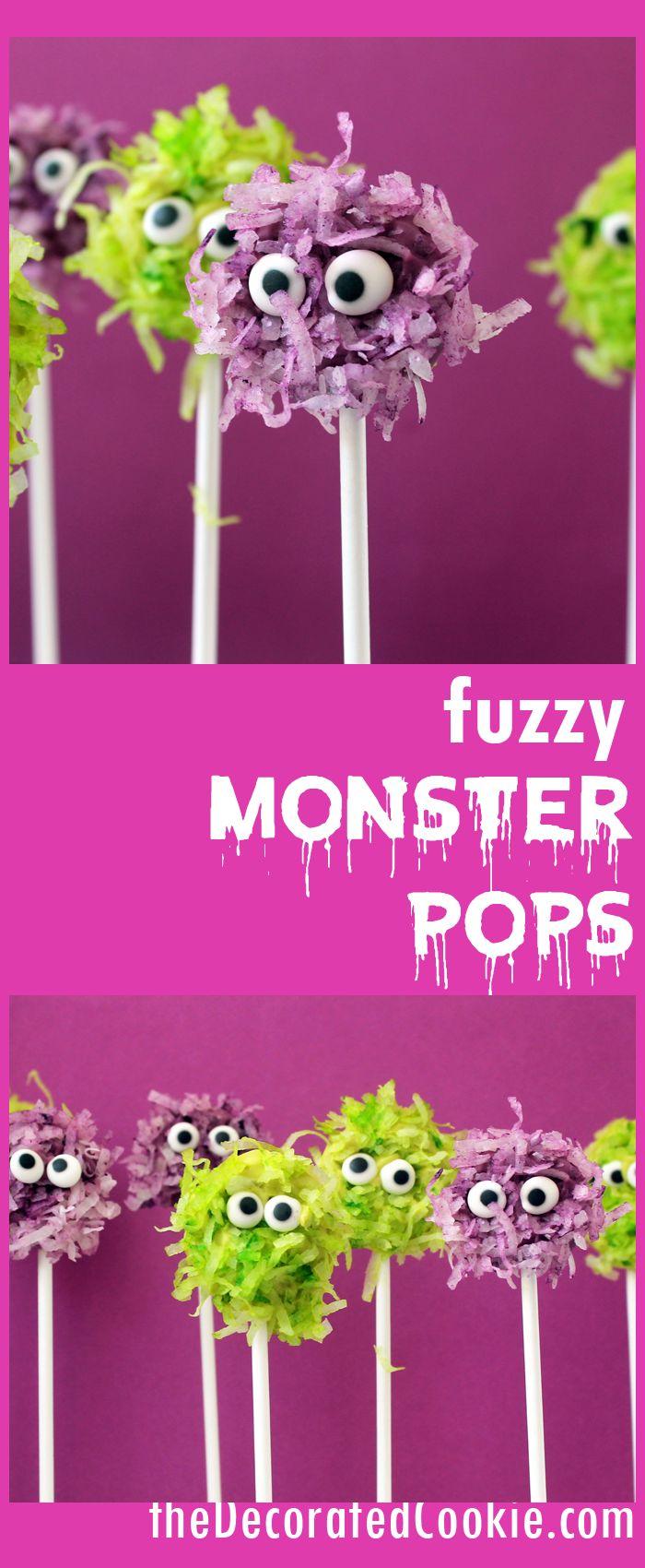 easy Halloween treat idea: fuzzy chocolate monster pops   | Dessert Recipe | Food Recipe