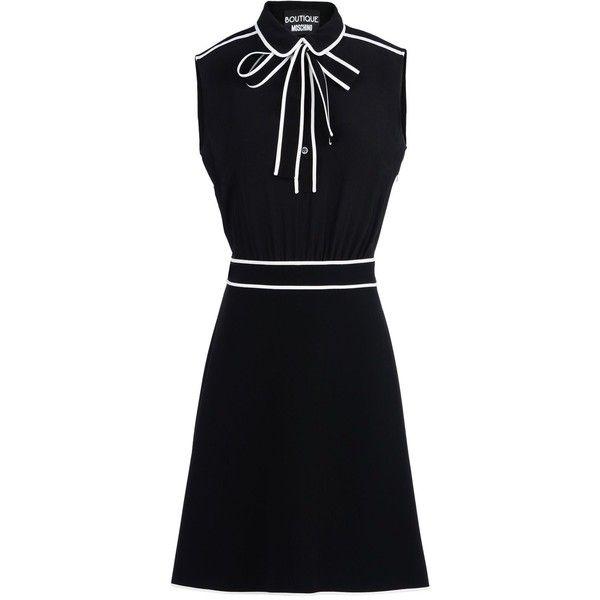 Boutique Moschino Short Dress (€635) ❤ liked on Polyvore featuring dresses, black, zip dress, button dress, black mini dress, zipper dress and two tone dress