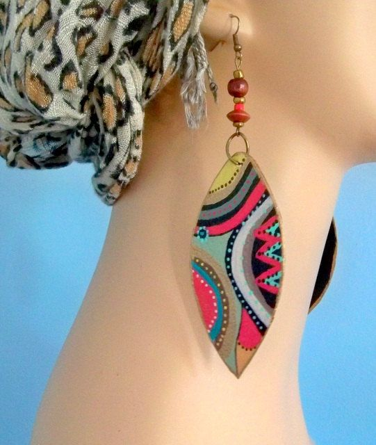 Earrings, African earrings, tribal, boho, dangle, hand painted, African shield, eclectic earrings, on safari,