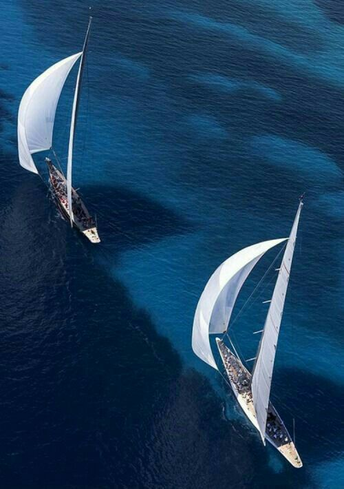 Nice colour of the ocean and two beautiful sailingboats