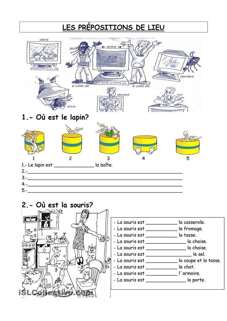 les prépositions de lieu fiche d'exercices - Fiches pédagogiques gratuites FLE