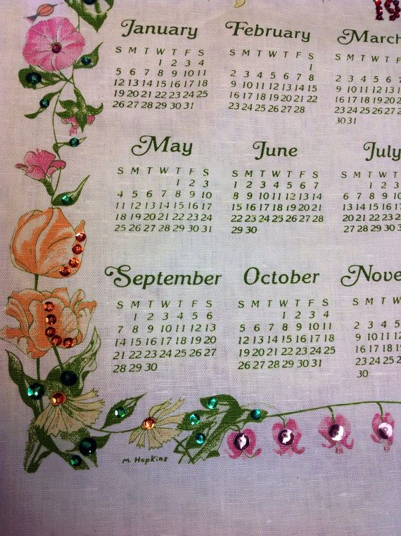 1986 Cloth Wall Calendar by TreasureFromMyTrunk on Etsy